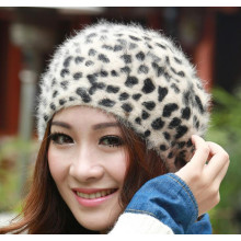 Fashion leopard winter hat rabbit hair women hat