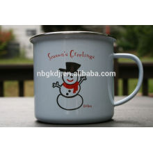 Christmas promotional printed enamel coffee mug with Painting