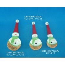 Conjunto de 3 colher de medição cerâmica com design de bonecos de neve