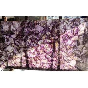 Semi precious translucent amethyst stone slab