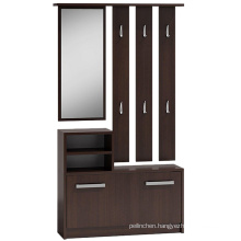Modern fashion wood shoe cabinet with mirror