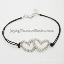 Black wire diamante double heart alloy woven bracelet