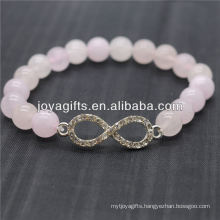 Wholesale Diamante 8 Shape With 8MM Semi Precious Stone Stretch Bracelet