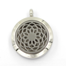30mm Stainless Steel Round Shaped Flower Essential Oil Locket Pendant