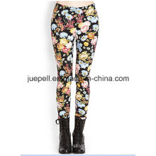 Floral Print Leggings with Elasticized Waist