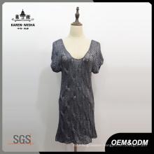 Women V-Neck Short Sleeve Straight Dress