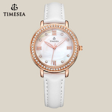 White Genuine Leather Strap Day/Date Function Ladies Wristwatch71006