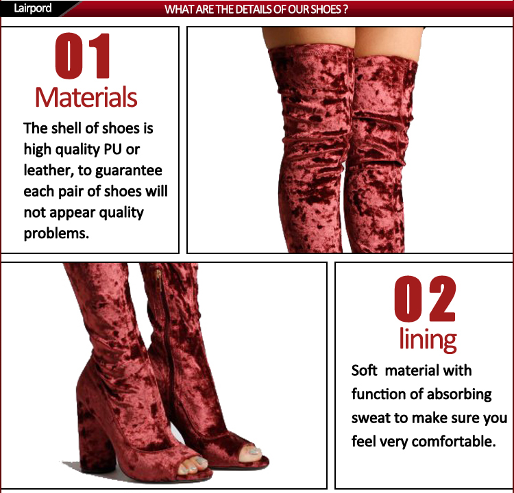 When every soring season is coming, we always fnd that we have no suitable shoes, the boots for winter is too hot, for the sandals can't to keep warm. and we still want to have a boots to show our beauful. so this style peep toe long boots is very meet our requirement.Keep warm but bot too hot and not too cold.this special design is very popular in the spring season.