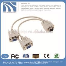 Venda Por Atacado 15pin 3 + 6 VGA para cabo VGA 1 macho para 2 fêmea