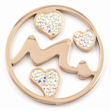 Fashion Rose Gold Arrow & Heart Coin Plate Fit 33/35 / 38mm Lockets