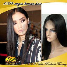 Wholesale Chinese Virgin human hair lace front wigs light yaki straight wig