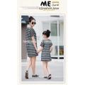 2016 été nouvelle mode maman et moi robe coréenne stlye lâche longue conception T-shirt robe famille correspondant vêtements en gros