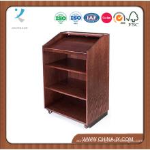 Lutrin en bois adapté aux besoins du client pour le plancher avec des étagères et 2 roues