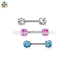 Stainless Steel doubel CZ stone nipple barbells