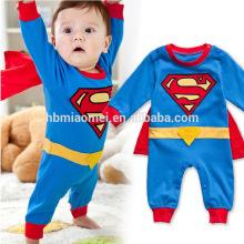 Manga longa e manga curta superman bebê romper para a primavera e outono