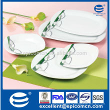 20PC-EX7209 set avec plateau de riz ovale Ensemble de vaisselle carré en porcelaine blanche pour turquie et russe