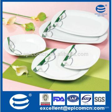20PC-EX7209 conjunto con vajilla de porcelana cuadrada cuadrada de placa de arroz ovalada conjunto para pavo y ruso
