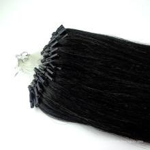 Großhandel Jet schwarz brasilianische Mikro-Ring-Mikro-Schleife Haarverlängerung
