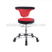 Nuevo taburete de bar giratorio rojo / negro, taburete giratorio de 360 grados, taburete de ruedas con respaldo