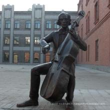 Violoncelle joueur moderne Bronze Sculpture BS114A