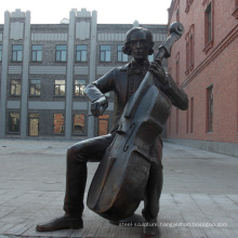 Cello Player Modern Bronze Sculpture BS114A