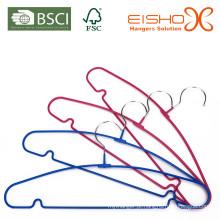 Arco-íris PVC revestimento metal cabide para roupas