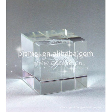 3D Laser Engraving Clear Crystal Glass Blank Cube And Block