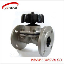 Válvula de diafragma de flange manual de aço inoxidável sanitário