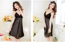 The new emulation silk summer season sexy pajamas sexy suspenders Lingerie wholesale