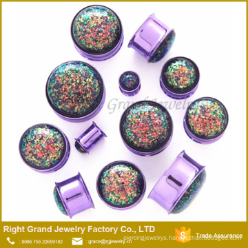 Big Purple Imitation Opal Centred Ear Tunnels Double Flare Plugs Earlets Gauges
