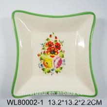 Plato cuadrado de cerámica de flor preciosa