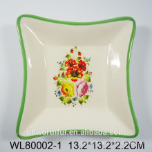 Lovely flower ceramic square platter