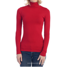 Nahtlose Fleece Turtle Neck Langarm Top Winter