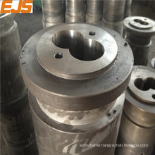Bimetallic twin barrels for pvc pta pe extrusion to make tube settler