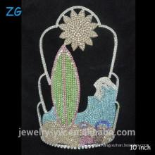 Wunderschöne vollfarbige Kristall Kundenspezifische Sonne Strand Sommer Festzug Krone