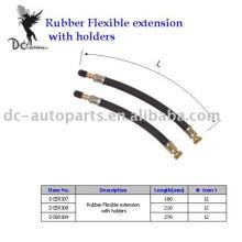 Extensão de válvula de pneu e extensão flexível de borracha
