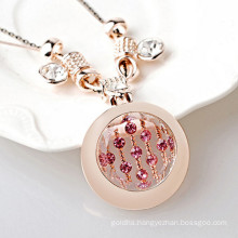 Rose Gold Crystal Opal Round Charm Pendant Necklace