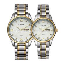 ensemble de diamants en acier inoxydable calendrier double fenêtres super couple montres