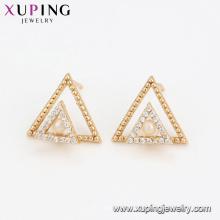 94599 Double triangle perle boucles d'oreilles fantaisie femmes bijoux belle conception de haute qualité boucles d'oreilles à vendre