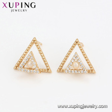 94599 Double triangle pearl earrings fancy women jewelry nice design high quality earrings for sale