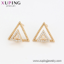 94599 Duplo triângulo brincos de pérola mulheres extravagantes jóias brincos de alta qualidade para venda