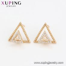 94599 двойной треугольник жемчужные серьги женщин модные ювелирные изделия красивый дизайн высокое качество серьги для продажи