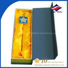 Caixa de forma quadrada de alta qualidade, estrela de metal, logotipo, marcador