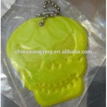 Promotion Reflective Key Chain, Soft PVC Key Chain Custom, Yellow Crossbones Key Chain