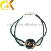 Edelstahl Schmucksachen zartes schwarzes gesponnenes Armband kundenspezifisches Schmucksacheporzellan
