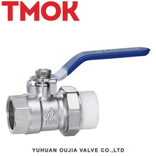 Brass nickle plated PPR active joint inner wire ball valve
