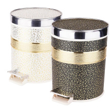 Round Stainless Steel Top Rim Foot Pedal Garbage Bin