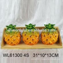 Ensemble de condiments en ananas en céramique de haute qualité