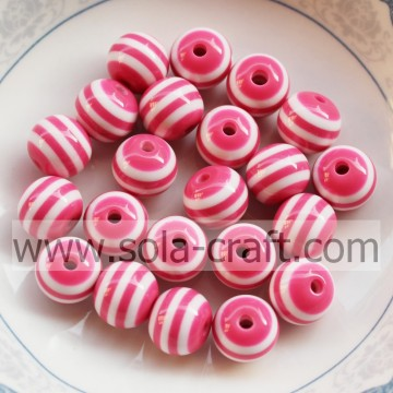 8MM Beautiful Howlite Pink & White Stripe Wholesale Gemstone Round Loose Resin Cheap Beads For Necklace Bracelet