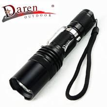 1, 200 lumens 18650 lampe de poche rechargeable à LED avec clip en acier inoxydable
